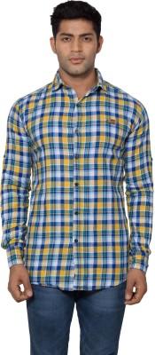 Tabser Men's Checkered Casual Yellow Shirt