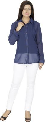 Svt Ada Collections Women's Solid Casual Dark Blue Shirt