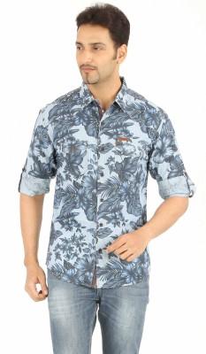 Spykar Men's Printed Casual Blue Shirt