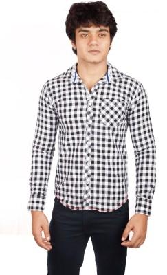 A Flash Men's Checkered Casual Black Shirt