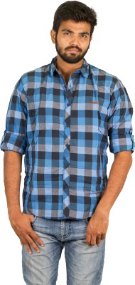 Groove Men's Checkered Casual Blue Shirt