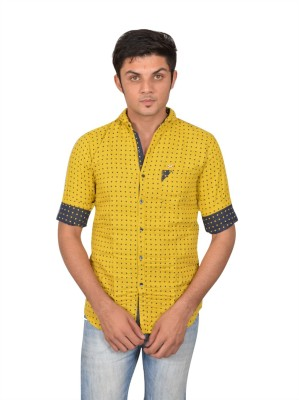 Suzee Men's Solid Casual Yellow, Blue Shirt
