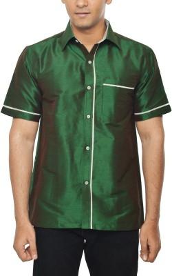 KENRICH Men's Solid Formal Dark Green Shirt