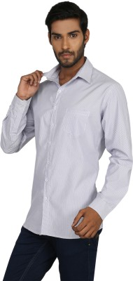 Macoro Men,s Striped Casual White, Blue Shirt