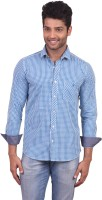 V. Men's Wear - V Seven Men's Checkered Casual Blue Shirt