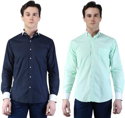 Magnoguy Men's Self Design Casual Blue, Green Shirt