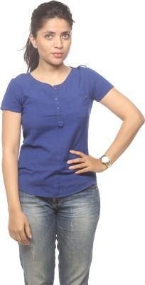 Spykar Women's Solid Casual Blue Shirt