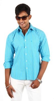 Barrier Reef Men's Striped Casual Light Blue, White Shirt