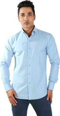 Just Differ Men's Solid Formal Blue Shirt