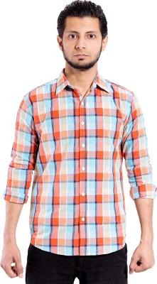 Chaman Handicrafts Men's Checkered Casual Orange Shirt