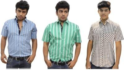 BK Black Men's Striped Casual Multicolor Shirt