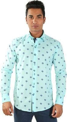 Just Differ Men's Self Design Casual Blue Shirt