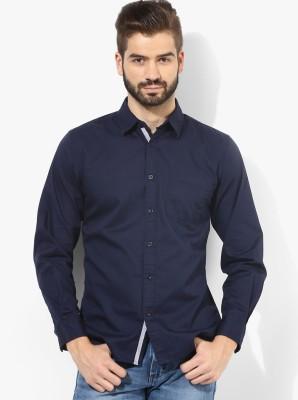 Zavlin Men,s Solid Casual Dark Blue Shirt