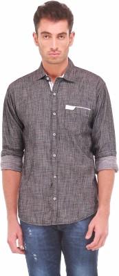Sleek Line Men's Solid, Self Design Casual Black Shirt