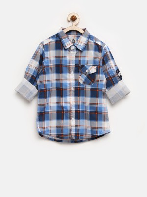 Yk Boy's Checkered Casual Blue Shirt