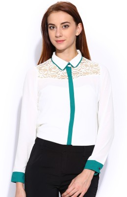 Mast & Harbour Women's Solid Formal White Shirt