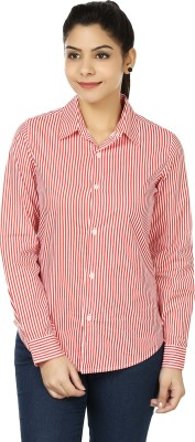 Eves Pret A Porter Women's Striped Casual, Formal Red, White Shirt