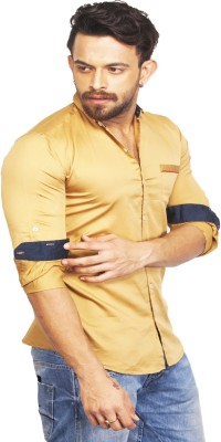 Bombay Casual Jeans Men's Solid Casual Gold Shirt