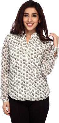 Lifestyle Retail Missy Women's Printed Casual White Shirt