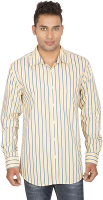 SmartCasuals Men's Striped Casual Yellow Shirt