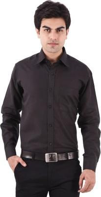 AA CORPORATION Men's Self Design Casual Black Shirt
