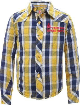 UFO Boy's Checkered Casual Yellow Shirt