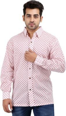 Padmini Negotium Men's Self Design Casual White Shirt