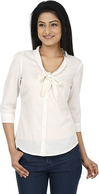 Wills Lifestyle Women's Solid Casual White Shirt