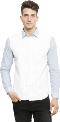 NFC Men's Striped Casual White Shirt