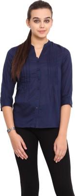 Pink Lemon Women's Solid Casual Dark Blue Shirt