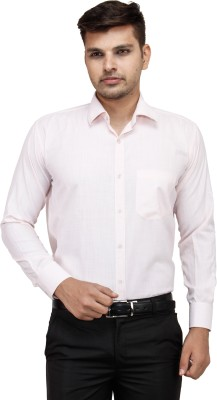 Regalfit Men's Solid Formal Pink Shirt