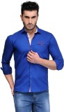 Finder Zone Men's Solid Casual Blue Shir...