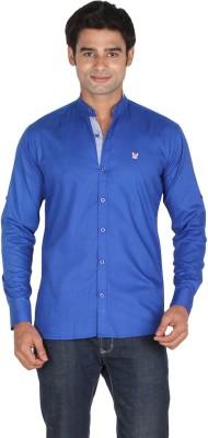 Qpark Men's Solid Casual Linen Blue Shirt