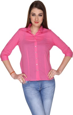 Miss Rich Women's Solid Casual Pink Shirt