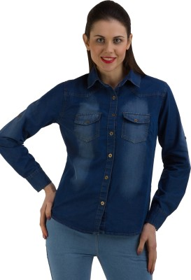 GUDS Women's Self Design Casual Denim Blue Shirt