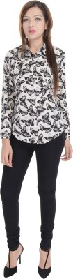 Fantasy Ika Women's Animal Print Casual Black Shirt