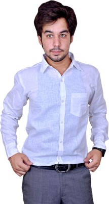 Mc-John Men's Solid Casual White Shirt