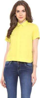 Leo Sansini Women's Solid Casual Yellow Shirt