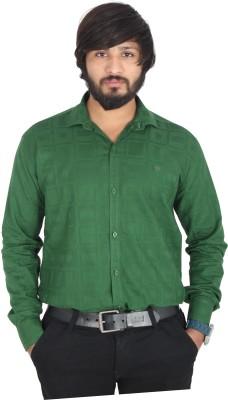 leports Men,s, Boy's Printed Formal Green Shirt