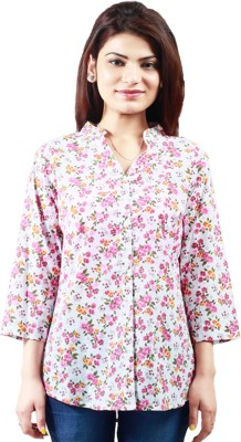 Klick2Style Women's Printed Casual, Formal, Party, Festive White, Pink Shirt