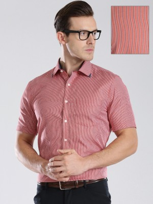Invictus Men's Striped Formal Red, White Shirt