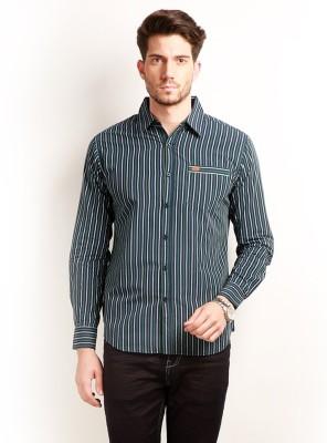 Change 360 Men's Striped Casual Dark Blue Shirt