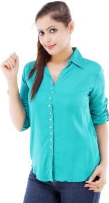 Divya Fashion Women's Solid Casual Blue Shirt