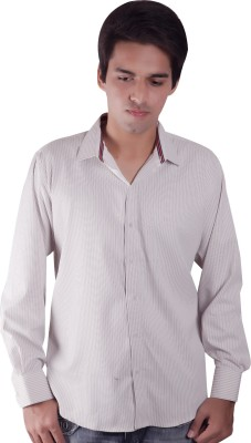 Elle Et Lui Men's Striped Formal Beige Shirt