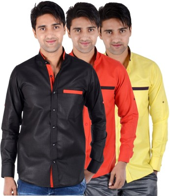 S9 Men's Solid Formal, Festive, Party Black, Red, Yellow Shirt