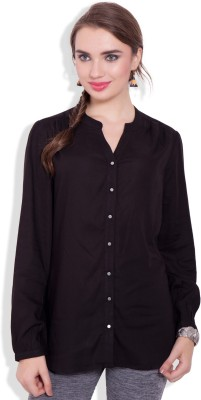 Pear Blossom Women's Solid Casual Black Shirt