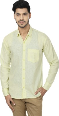 Trewfin Men's Solid Casual Yellow Shirt