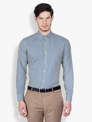 Mark Taylor Men's Checkered Formal Yellow Shirt