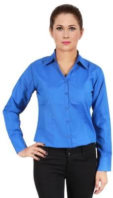 NGT Women's Solid Formal Blue Shirt