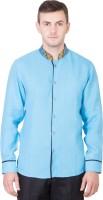 Desam Formal Shirts (Men's) - Desam Men's Solid, Embroidered Formal Linen Blue Shirt